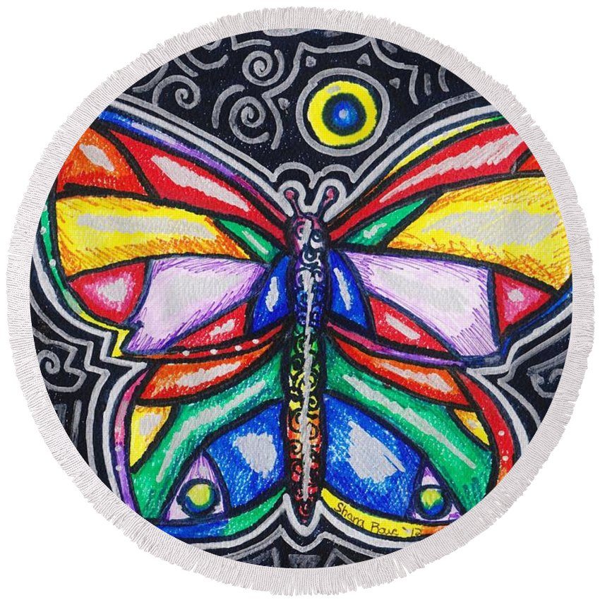 Butterfly Round Beach Towel featuring the drawing Rainbows And Butterflies by Shana Rowe Jackson