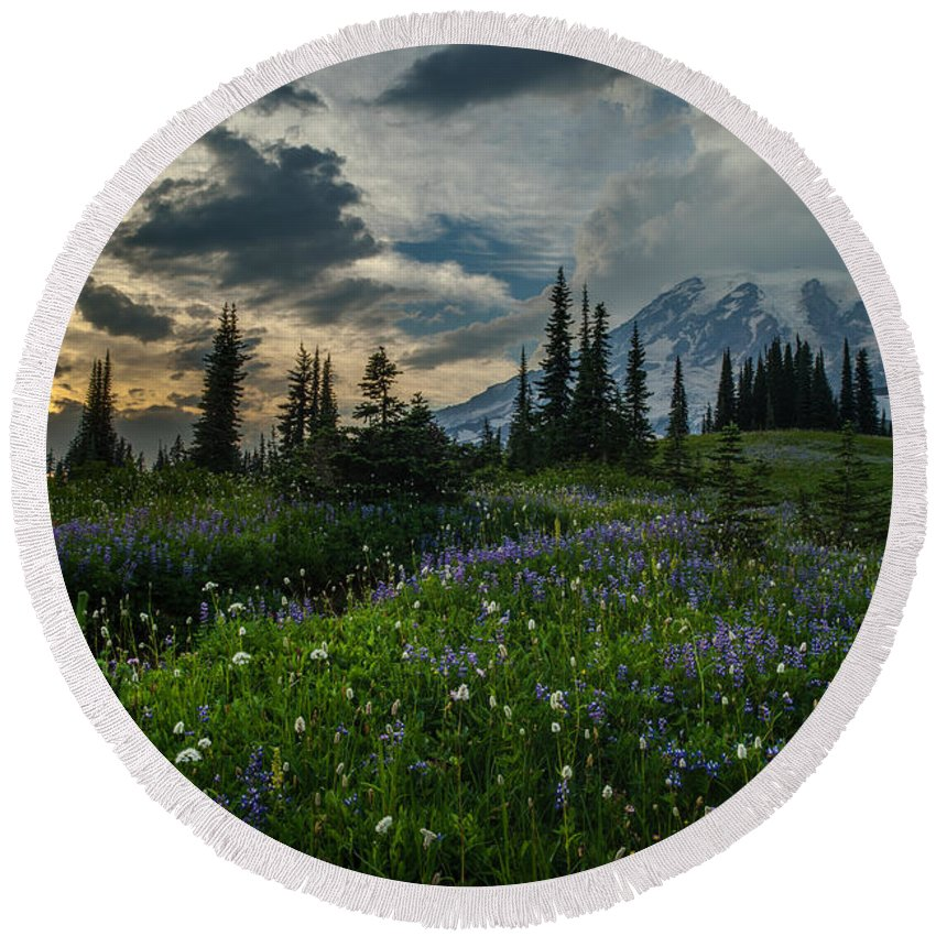 Rainier Round Beach Towel featuring the photograph Rainier Abundance Of Flowers by Mike Reid