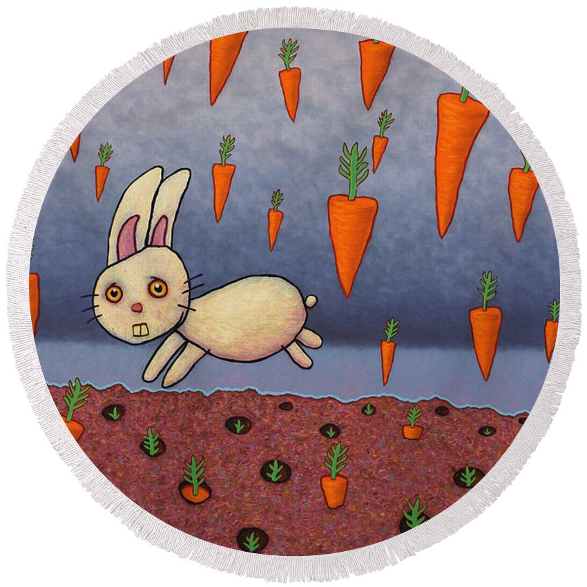 Bunny Round Beach Towel featuring the painting Raining Carrots by James W Johnson
