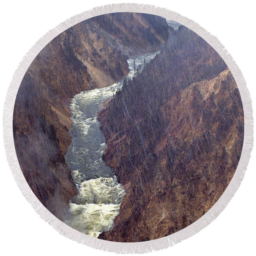 North America Round Beach Towel featuring the photograph Rainstorm Over Grand Canyon Of The Yellowstone by Dave Welling