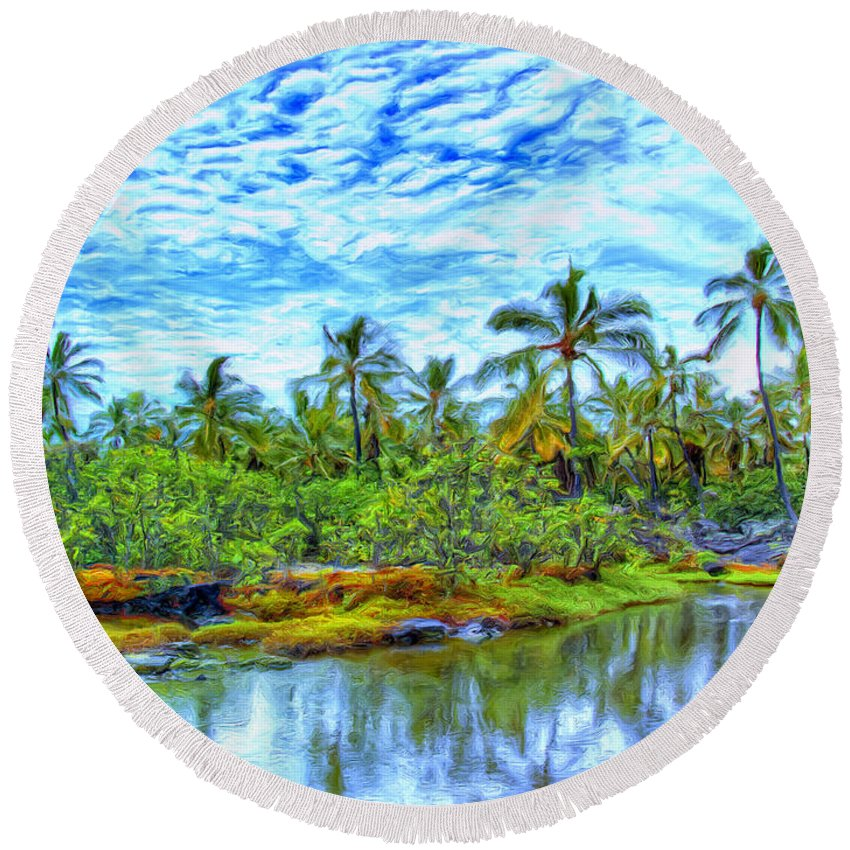 Rain Round Beach Towel featuring the painting Rainy Afternoon In Kona by Dominic Piperata