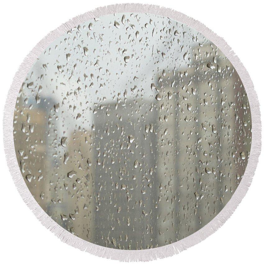 Rainy Day Round Beach Towel featuring the photograph Rainy Day City by Ann Horn