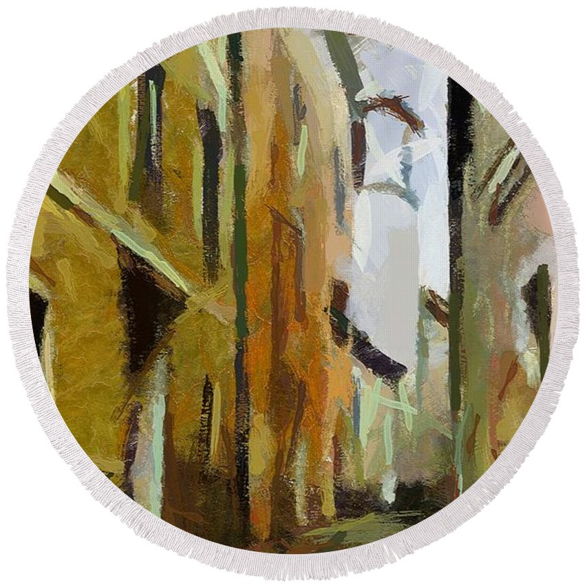City Scape Round Beach Towel featuring the painting Rainy Day by Dragica Micki Fortuna