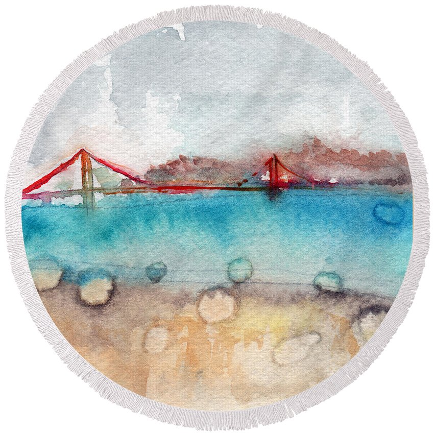 San Francisco Round Beach Towel featuring the painting Rainy Day In San Francisco by Linda Woods