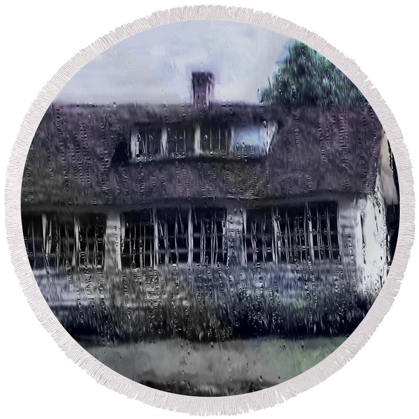 House Round Beach Towel featuring the painting Rainy Day Long Ago House by RC DeWinter