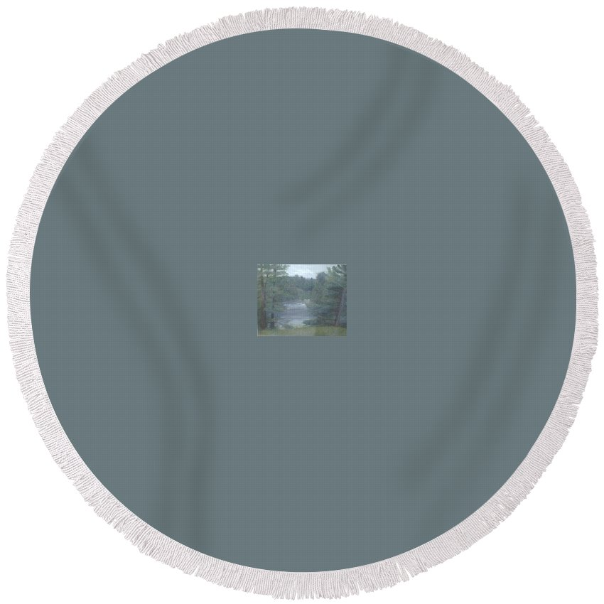 Rainy Round Beach Towel featuring the painting Rainy Day Plein Aire by Sheila Mashaw