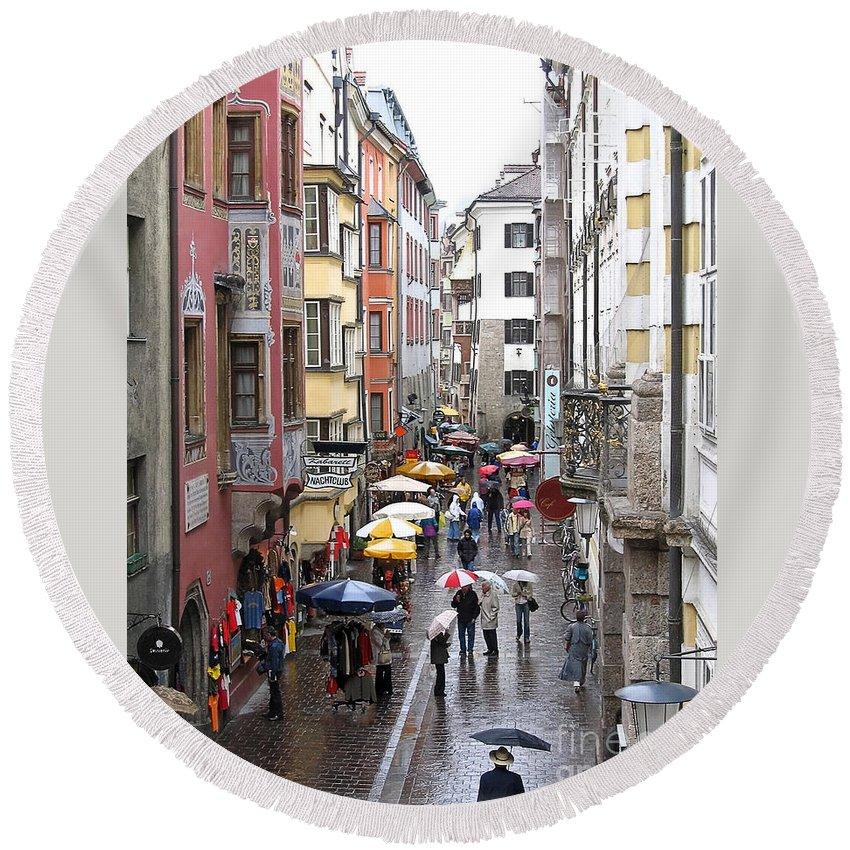 Innsbruck Round Beach Towel featuring the photograph Rainy Day Shopping by Ann Horn