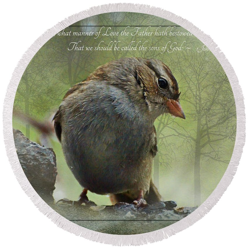 Nature Round Beach Towel featuring the photograph Rainy Day Sparrow With Verse by Debbie Portwood