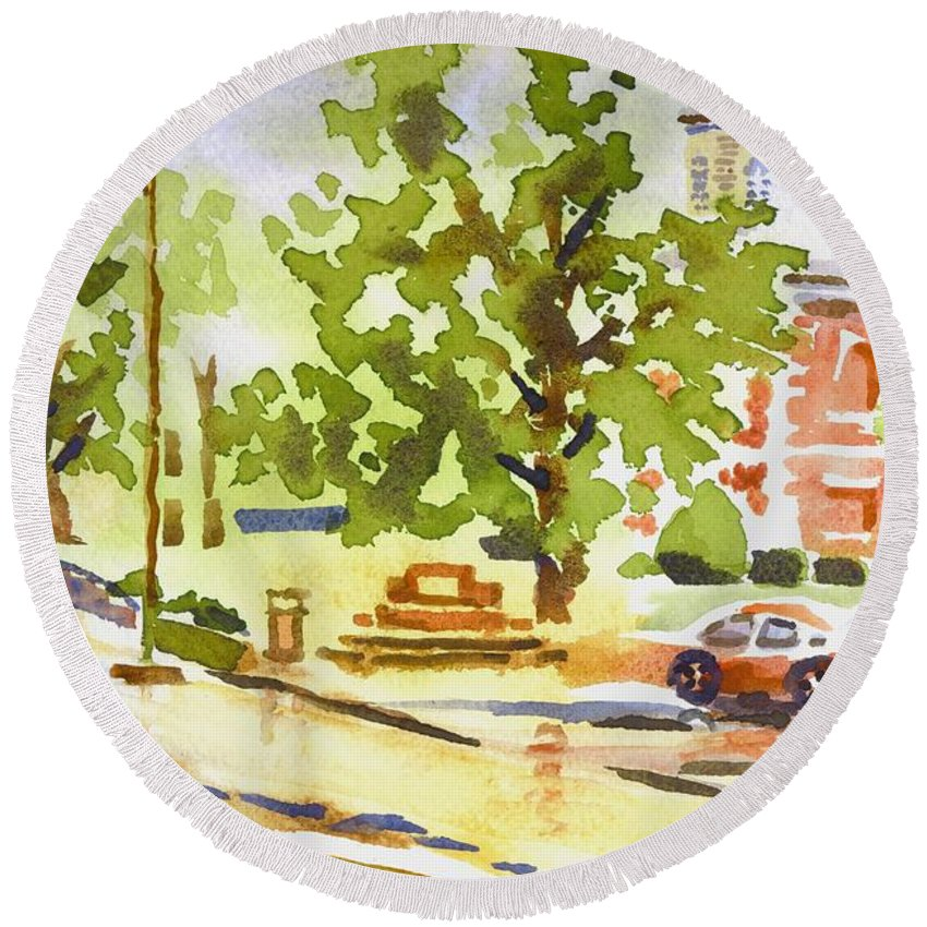 Rainy Days Round Beach Towel featuring the painting Rainy Days by Kip DeVore