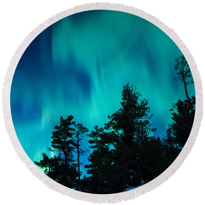 Northern Lights Round Beach Towel featuring the photograph Rainy Lake Lights by Lori Dobbs