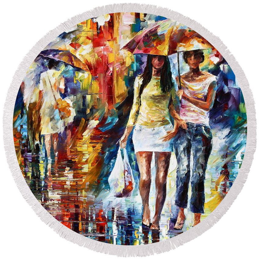 Rain Round Beach Towel featuring the painting Rainy Shopping by Leonid Afremov