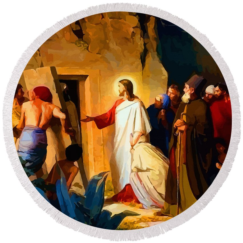 Retouched Round Beach Towel featuring the digital art Raising Of Lazarus by Don Kuing