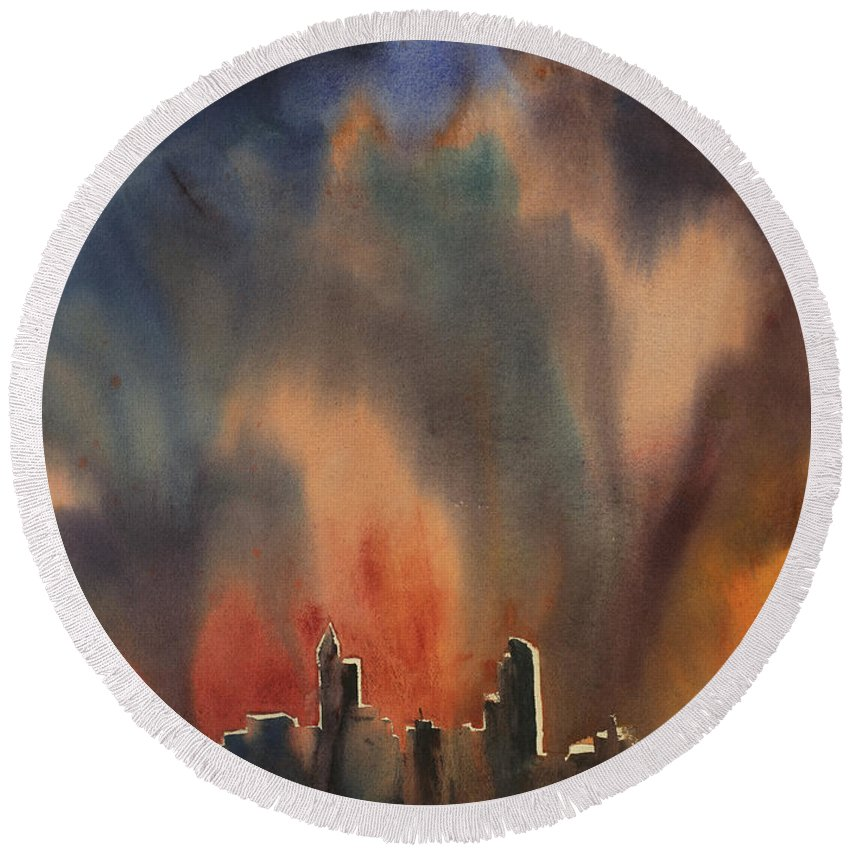 Art Prints Round Beach Towel featuring the painting Raleigh Thunderstorm by Ryan Fox