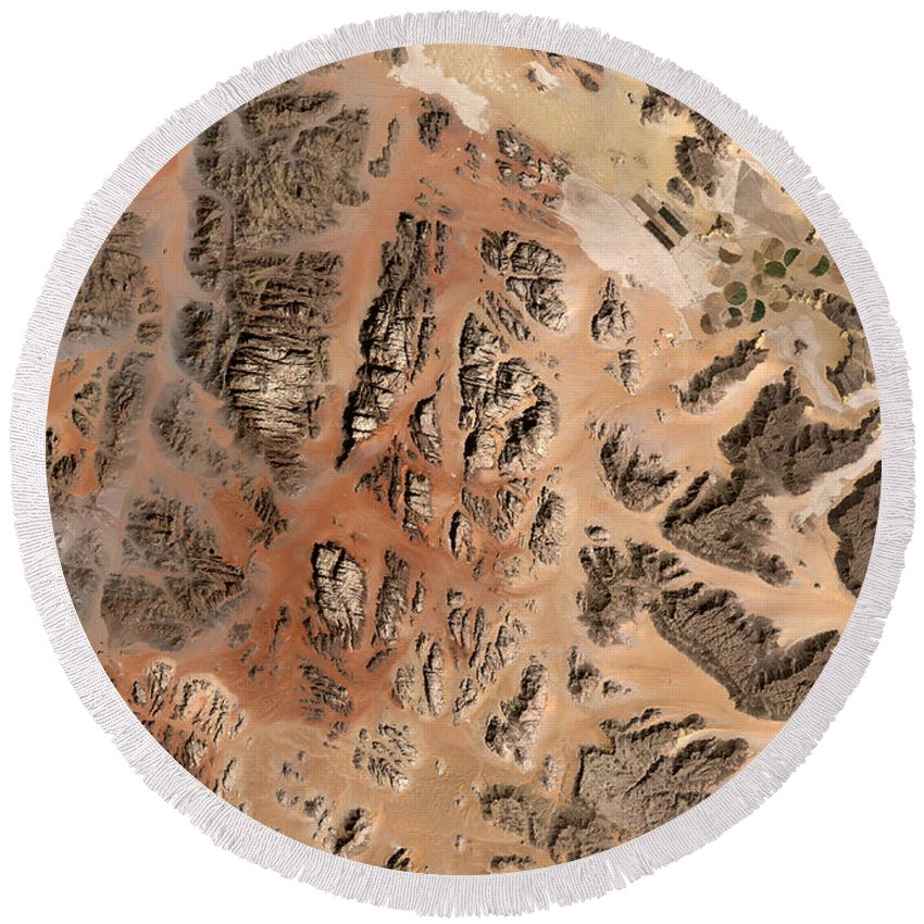 Satellite Image; Map; Environment; Desert; Plateau; Sand; Valley; Africa; Middle East; Jordan; Red Sea Round Beach Towel featuring the photograph Ram Desert Transjordanian Plateau Jordan by Anonymous