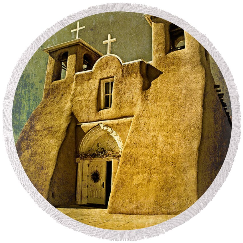 Santa Round Beach Towel featuring the mixed media Ranchos Church In Old Gold by Charles Muhle