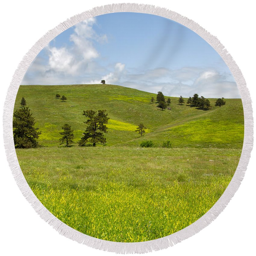 Tree Round Beach Towel featuring the photograph Rangelands Of Custer State Park by John M Bailey