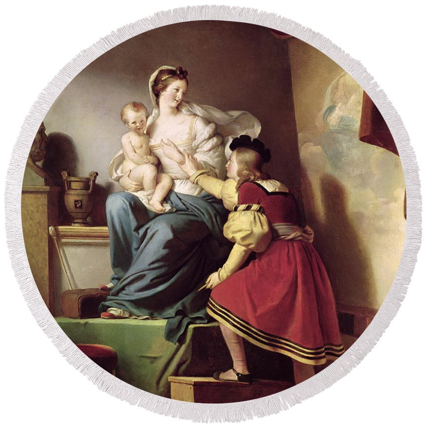 Raphael Adjusting His Models Pose For His Painting Of The Virgin And Child Round Beach Towel featuring the painting Raphael Adjusting His Model's Pose For His Painting Of The Virgin And Child by Alexandre Evariste Fragonard