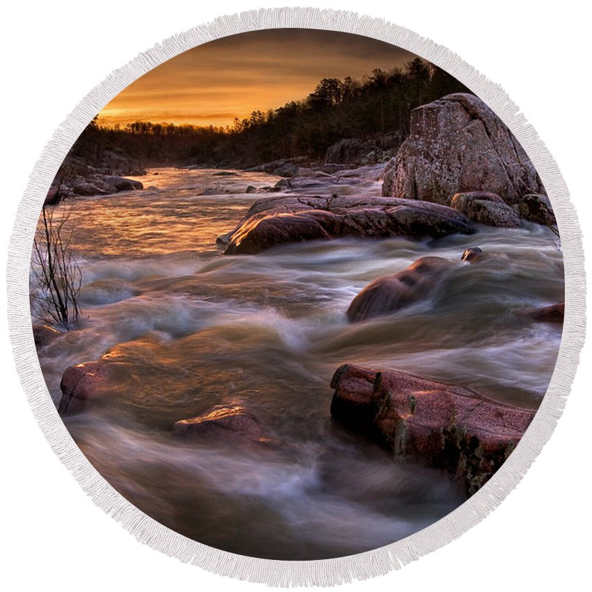 2010 Round Beach Towel featuring the photograph Rapids At Dawn by Robert Charity