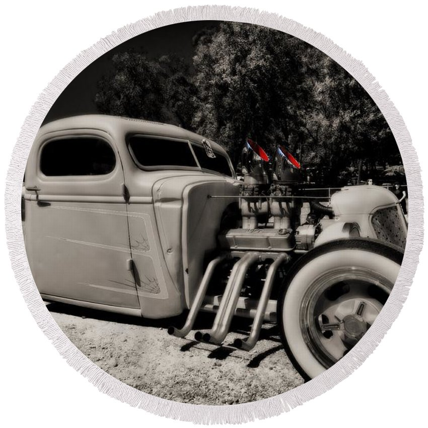 Liane Wright Round Beach Towel featuring the photograph Rat Rod by Liane Wright