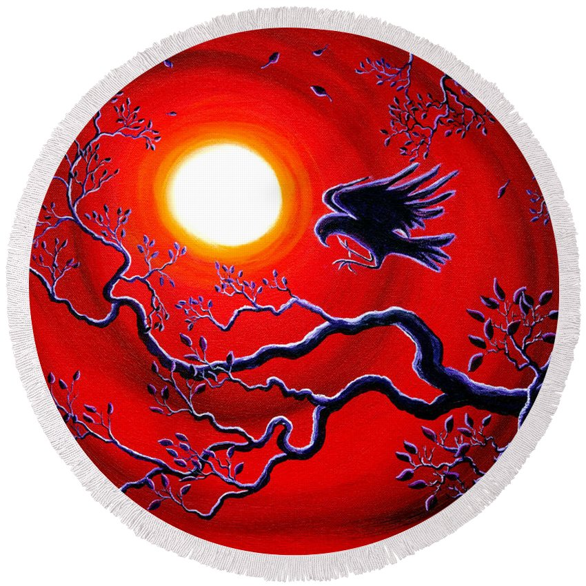 Crow Round Beach Towel featuring the painting Raven In Ruby Red by Laura Iverson