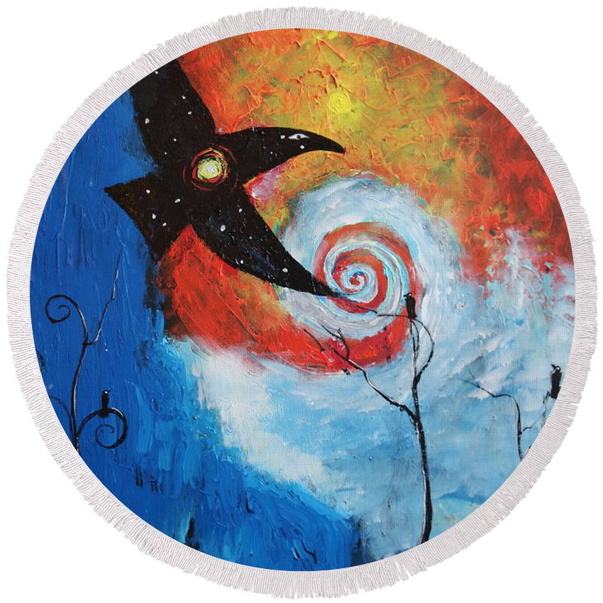 Fantasy Round Beach Towel featuring the painting Raven In The Swirl by Stefan Duncan