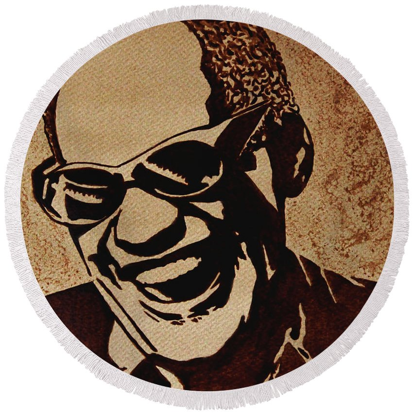 Ray Charles Original Pop Art Coffee Art Round Beach Towel featuring the painting Ray Charles Original Coffee Painting by Georgeta Blanaru