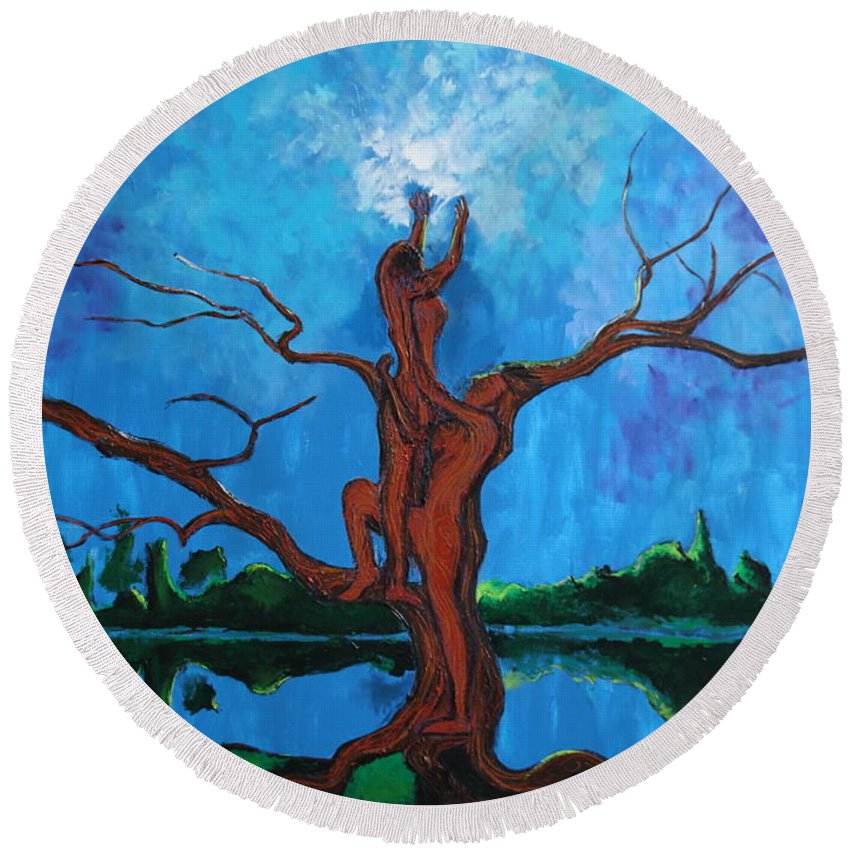 Landscape Round Beach Towel featuring the painting Reach For The Light My Sister by Stefan Duncan