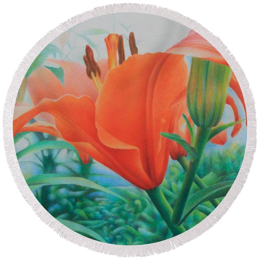 Color Pencil Round Beach Towel featuring the painting Reach For The Skies by Pamela Clements