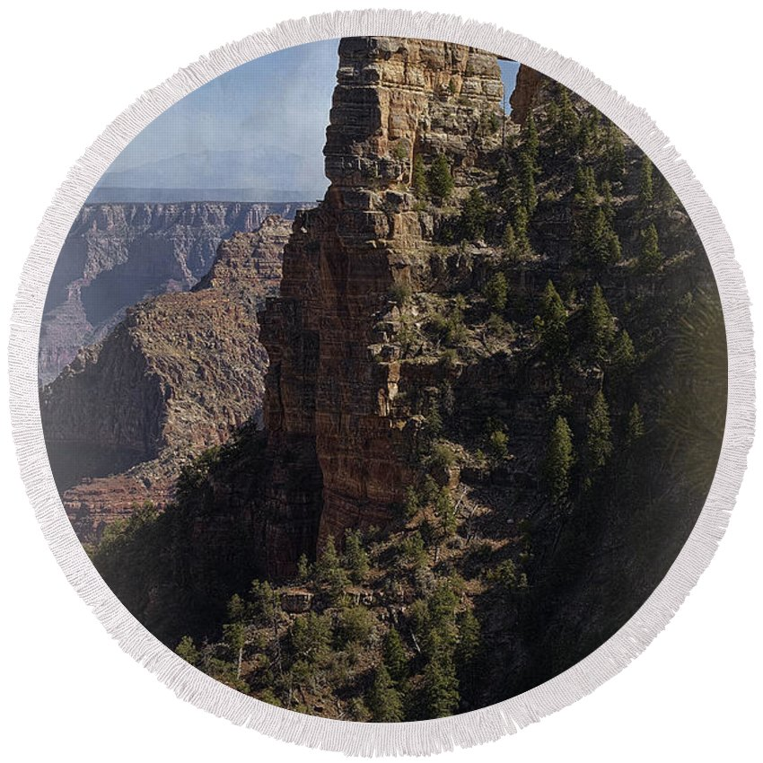 Grand Canyon Round Beach Towel featuring the photograph Reach Out by Lucinda Walter