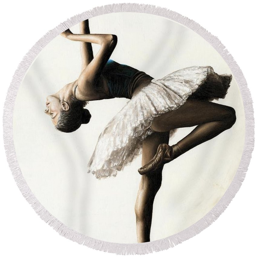 Dancer Round Beach Towel featuring the painting Reaching For Perfect Grace by Richard Young