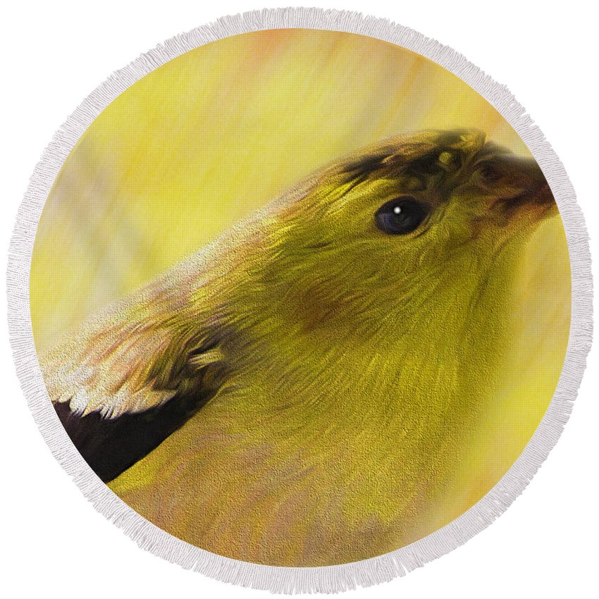 Goldfinch Round Beach Towel featuring the photograph Ready For Spring by Shannon Story