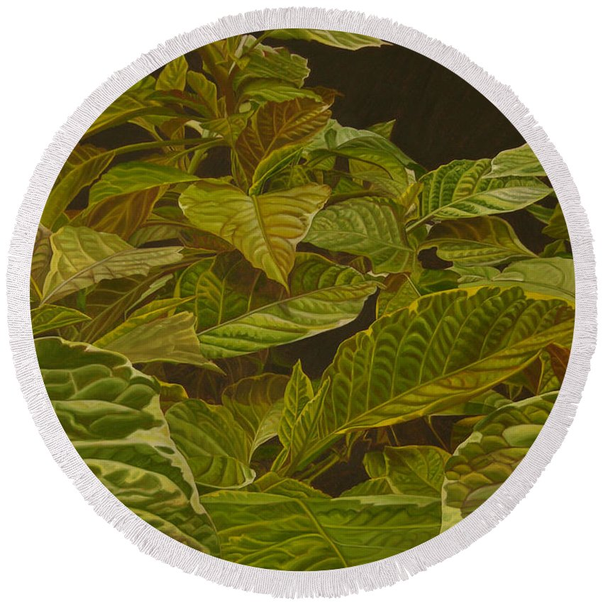 Plant Round Beach Towel featuring the painting Ready For Spring by Thu Nguyen