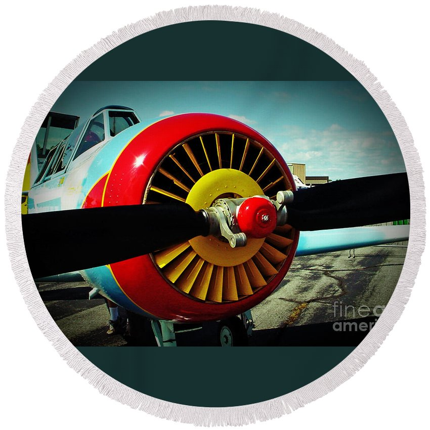 Plane Round Beach Towel featuring the photograph Ready To Fly by Kevin Fortier