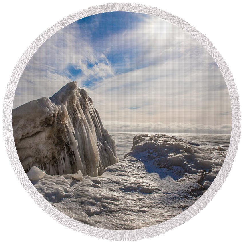 Ice Round Beach Towel featuring the photograph Ready To Let Loose Ice Formation by Nikki Vig