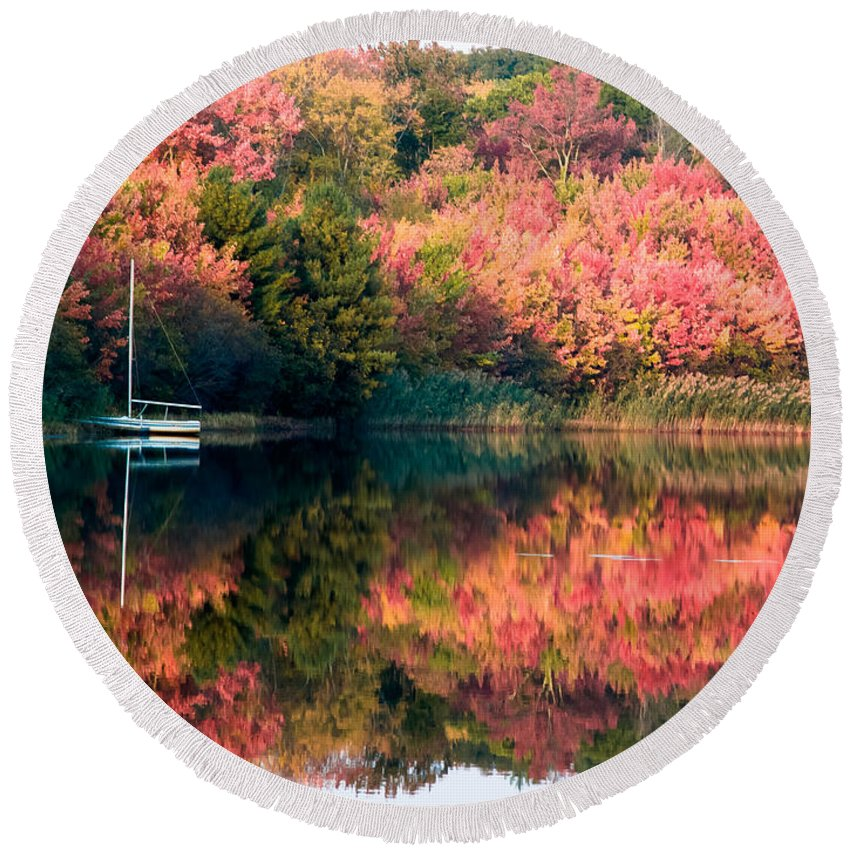 Autumn Foliage New England Round Beach Towel featuring the photograph Ready To Sail In The Fall Colors by Jeff Folger