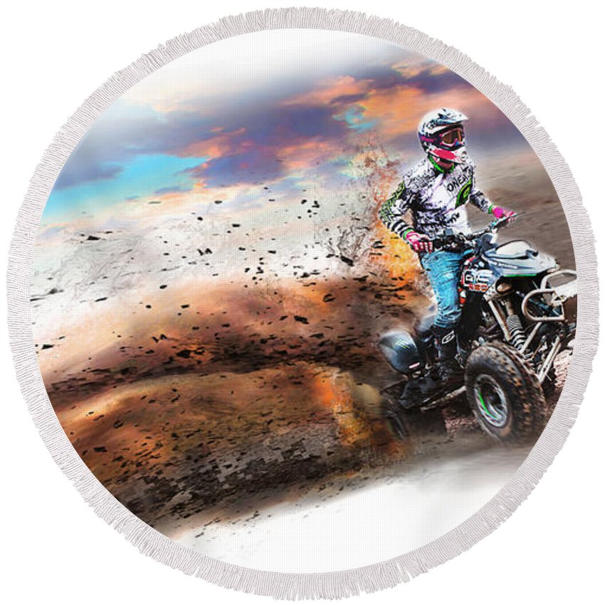 Quad Bike Round Beach Towel featuring the photograph Real Quad Bike Fun by Ronel Broderick