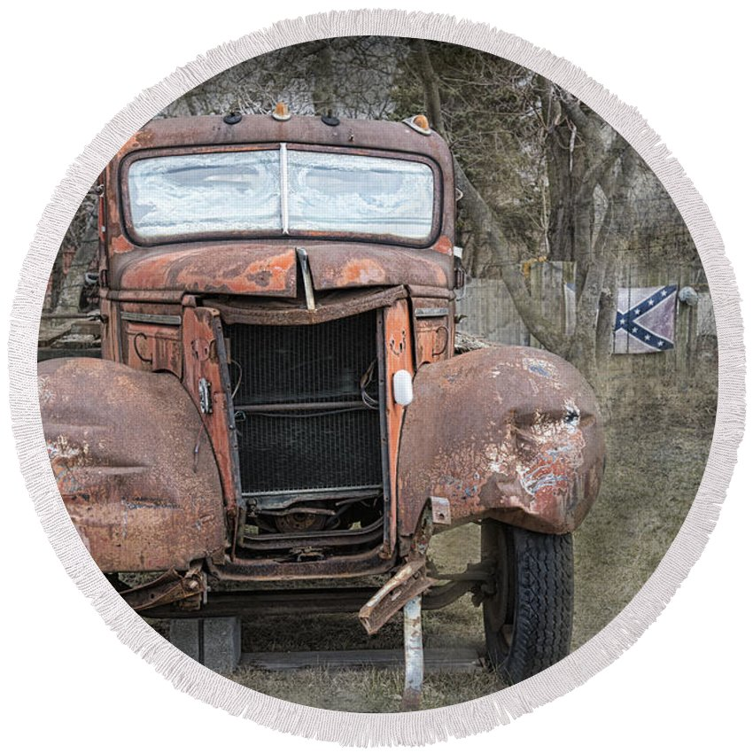 Old Truck Round Beach Towel featuring the photograph Rebel Truck by David Arment