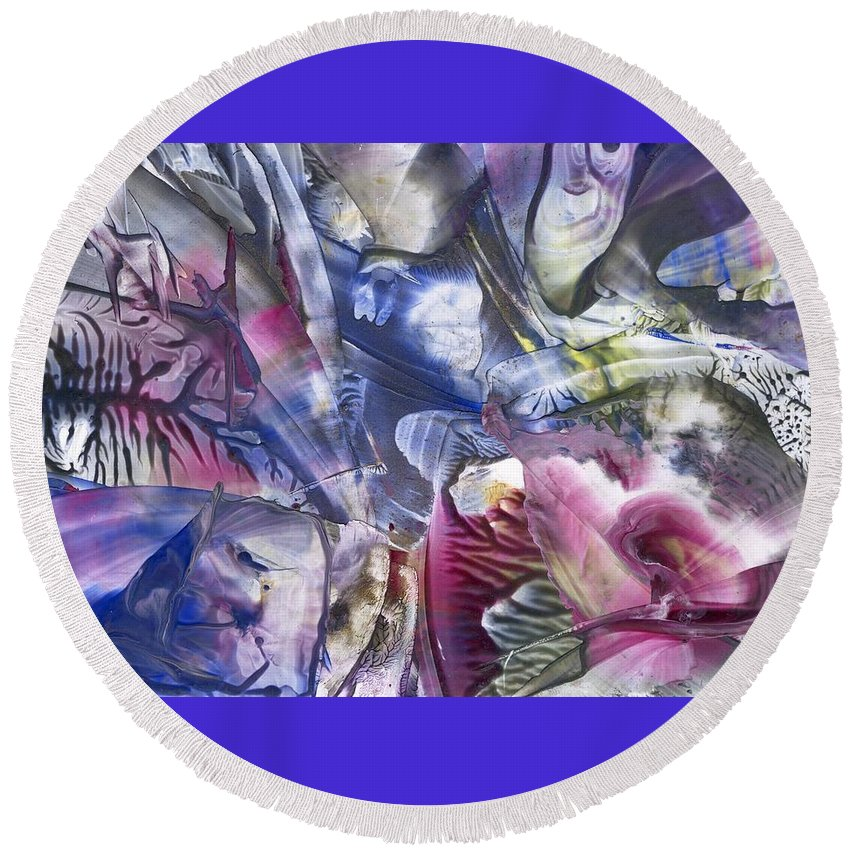 Abstract Round Beach Towel featuring the painting Rebirth by Cristina Handrabur
