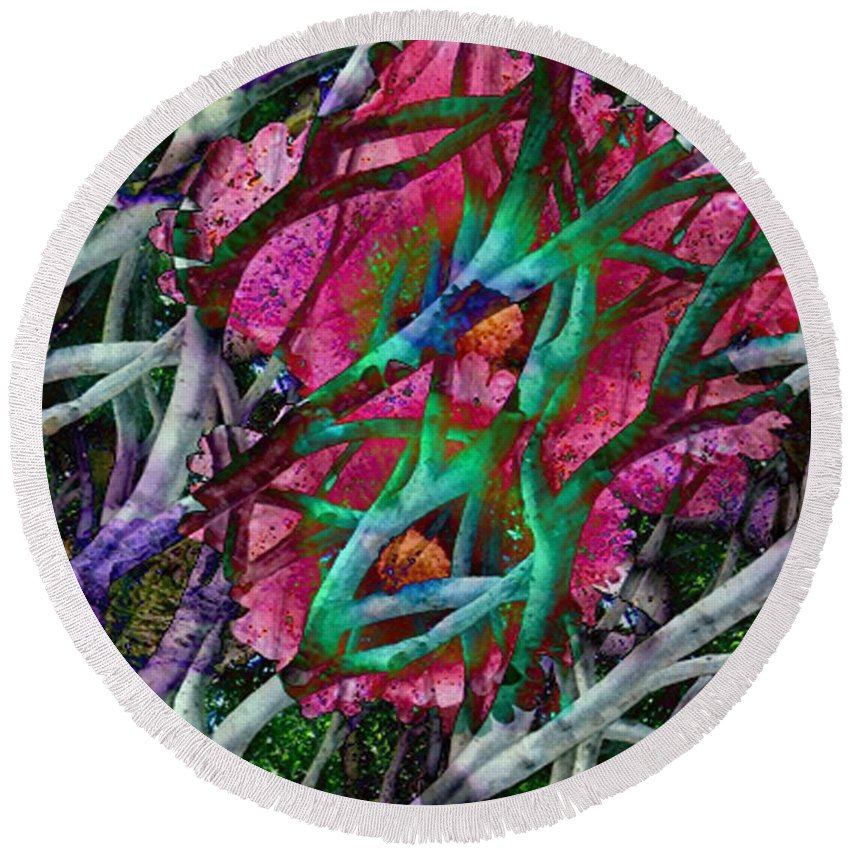Abstract Round Beach Towel featuring the digital art Rebirth by Yael VanGruber