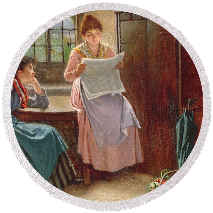 Interior; Newspaper; Letter; Reading; Female; Mother; Daughter; Daughters; Sisters; Girls; Family; Kitchen; Breakfast Table; Seated; Geraniums; Pot Plants; War Time; Communication; Victorian; Daily Life Scene; Anxiety; The Boer War Round Beach Towel featuring the painting Recent News by Haynes King