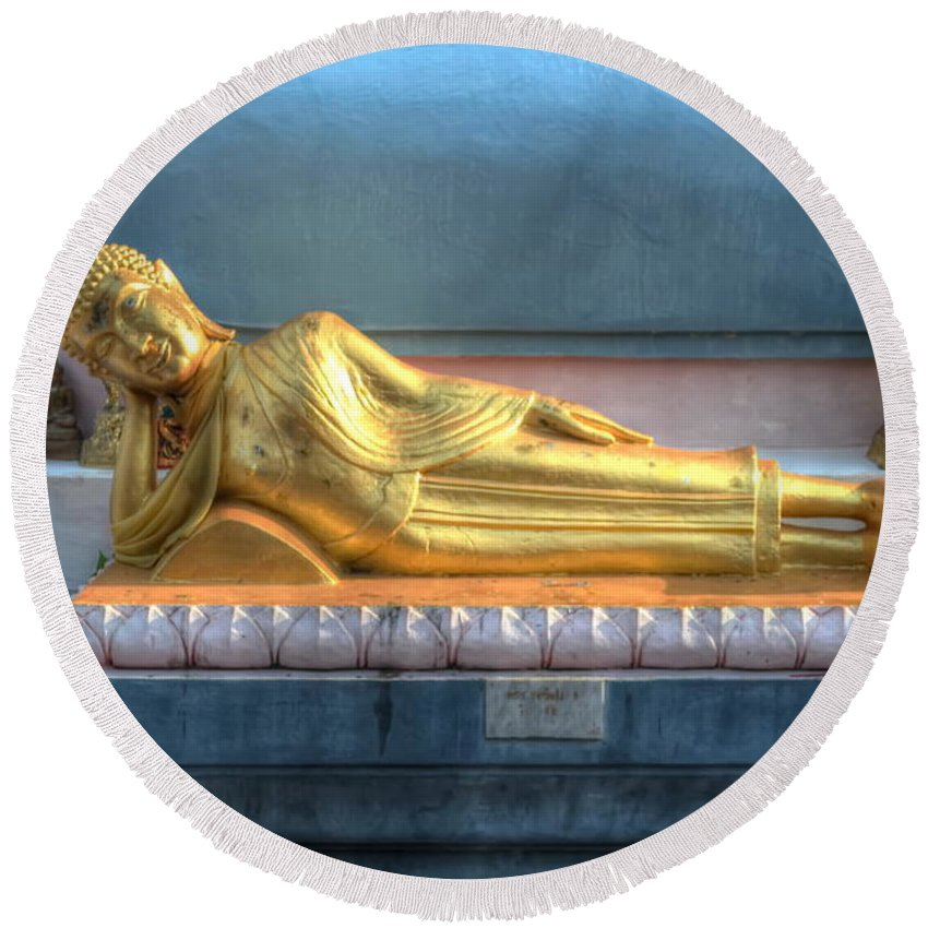 Michelle Meenawong Round Beach Towel featuring the photograph reclining Buddha by Michelle Meenawong