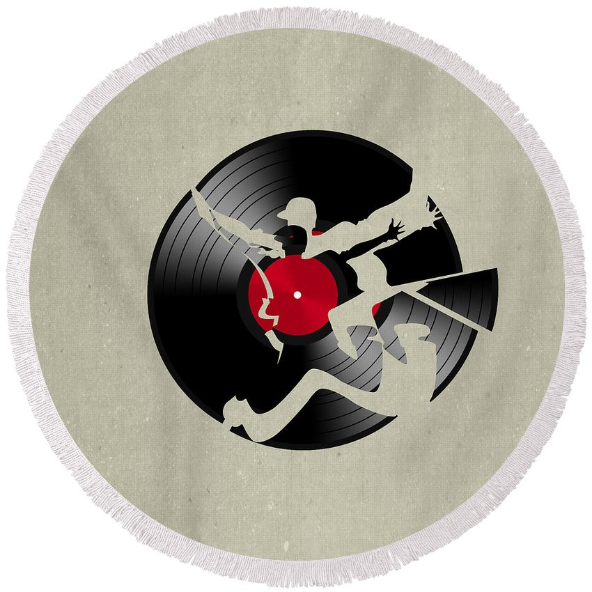 Record Round Beach Towel featuring the digital art Record 2 by Mark Ashkenazi