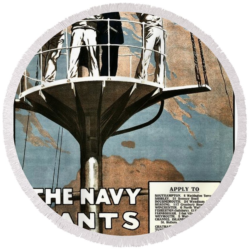 Navy Round Beach Towel featuring the photograph Recruiting Poster - Britain - Navy Wants Men by Benjamin Yeager