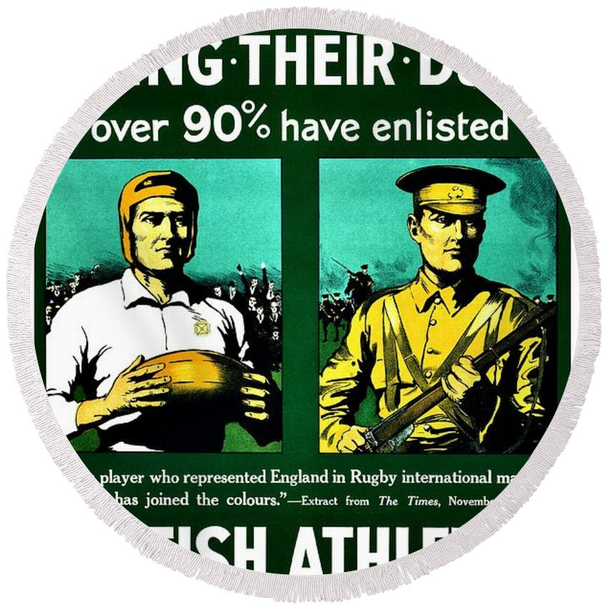 Great Britain Round Beach Towel featuring the photograph Recruiting Poster - Britain - Rugby by Benjamin Yeager