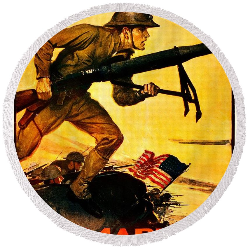 Vintage Round Beach Towel featuring the photograph Recruiting Poster - Ww1 - Marines Over The Top by Benjamin Yeager