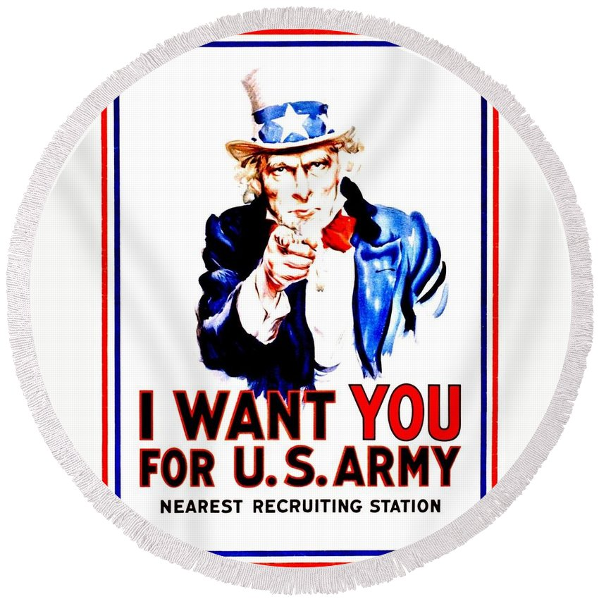 Vintage Round Beach Towel featuring the photograph Recruiting Poster - Ww1 - I Want You by Benjamin Yeager