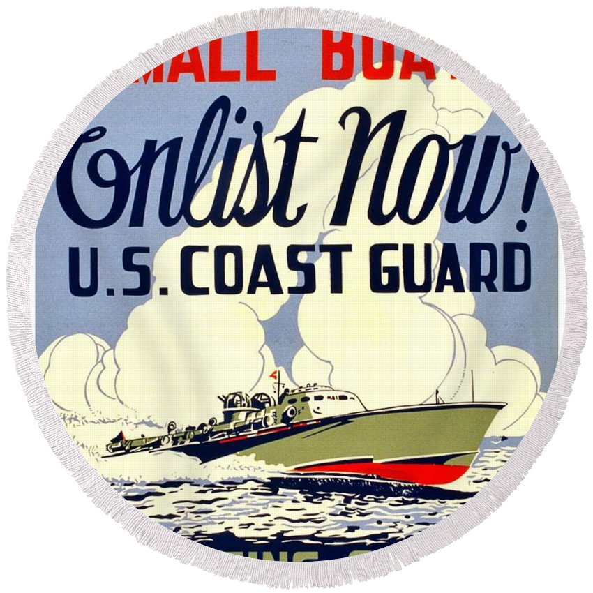 Vintage Round Beach Towel featuring the photograph Recruiting Poster - Ww2 - Coast Guard by Benjamin Yeager