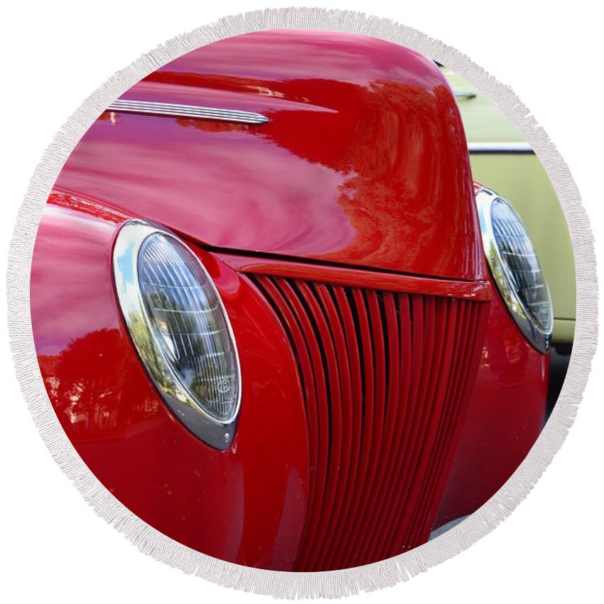 Round Beach Towel featuring the photograph Red 40 Ford by Dean Ferreira