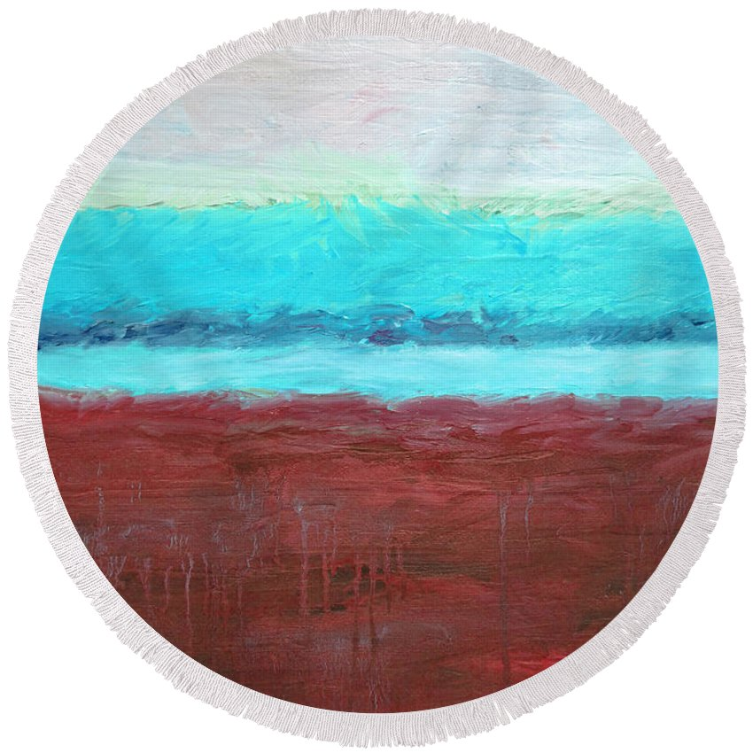 Abstract Round Beach Towel featuring the painting Red And Aqua Get Married by Michelle Calkins