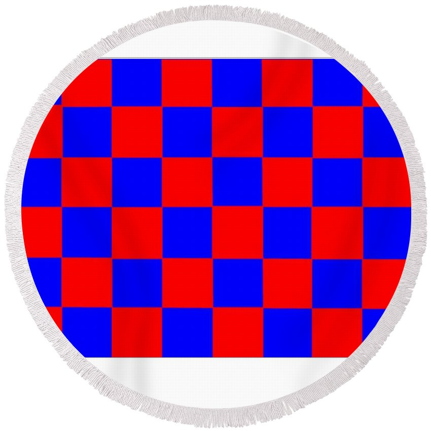 Red Round Beach Towel featuring the digital art Red And Blue Checkered Flag by Frederick Holiday